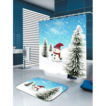Waterproof Christmas Snowman Pine Pattern Shower Curtain - BLUE/WHITE W71 INCH * L79 INCH