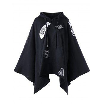 Hooded Asymmetrical Graphic Cape - BLACK BLACK