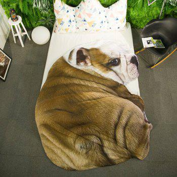 Cartoon 3D Bulldog Print Bed Summer Quilt - BROWN BROWN