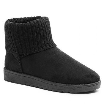 Ankle Knitted Fold Over Snow Boots - BLACK 38