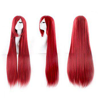 Ultra Long Inclined Fringe Straight Synthetic Party Wig - RED RED