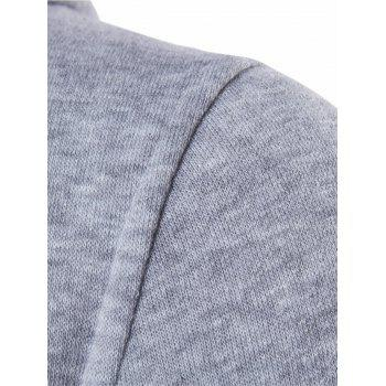 Armband Embellished Zipper Kangaroo Pocket Hoodie - LIGHT GRAY XL
