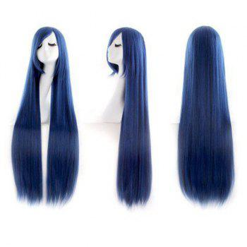 Ultra Long Inclined Fringe Straight Synthetic Party Wig - PEARL INDIGO BLUE PEARL INDIGO BLUE
