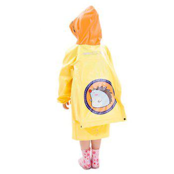 Cartoon Hedgehog Outdoor Waterproof Hooded Raincoat for Kids - YELLOW XL