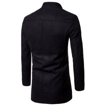 Wool Blend Single Breasted Stand Collar Coat - BLACK XL