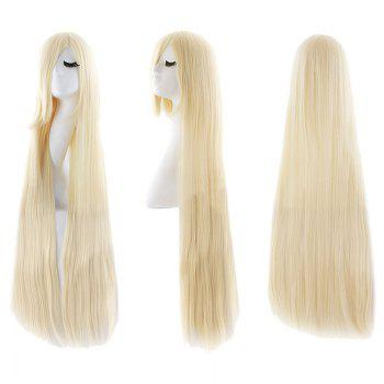 Ultra Long Inclined Fringe Straight Synthetic Party Wig - LIGHT GOLD LIGHT GOLD