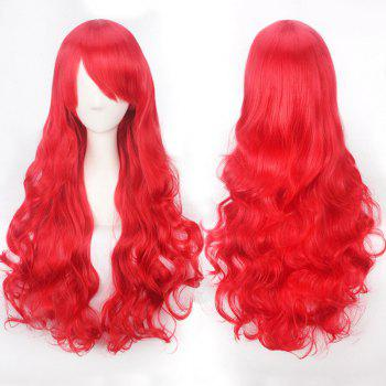 Ultra Long Inclined Bang Fluffy Curly Synthetic Party Wig - RED RED