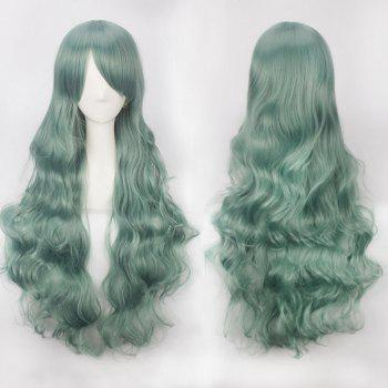Ultra Long Inclined Bang Fluffy Curly Synthetic Party Wig - BLACKISH GREEN BLACKISH GREEN
