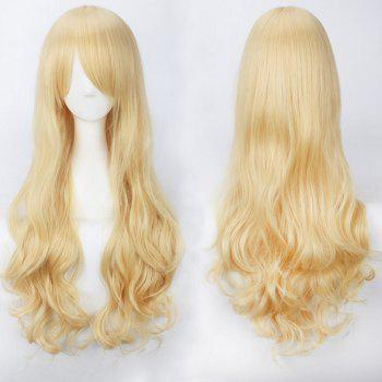 Ultra Long Inclined Bang Fluffy Curly Synthetic Party Wig - GOLDEN GOLDEN