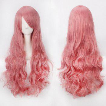 Ultra Long Inclined Bang Fluffy Curly Synthetic Party Wig - LIGHT PINK LIGHT PINK