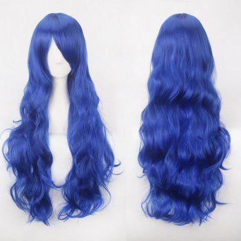 Ultra Long Inclined Bang Fluffy Curly Synthetic Party Wig - CERULEAN CERULEAN