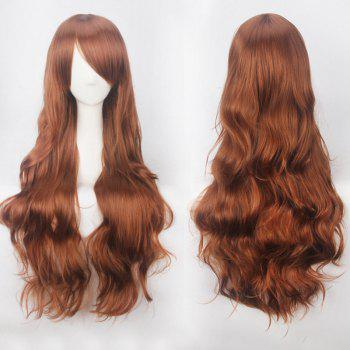 Ultra Long Inclined Bang Fluffy Curly Synthetic Party Wig - FLAX BROWN FLAX BROWN