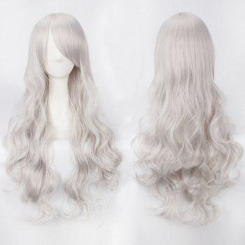 Ultra Long Inclined Bang Fluffy Curly Synthetic Party Wig - SILVER WHITE SILVER WHITE