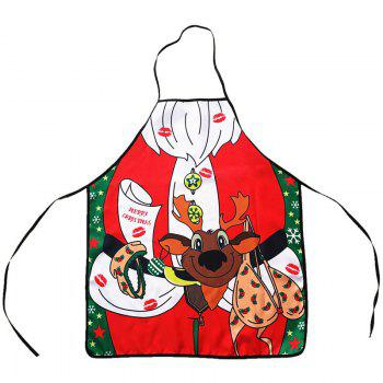 Christmas Theme Santa Print Cooking Apron - RED RED