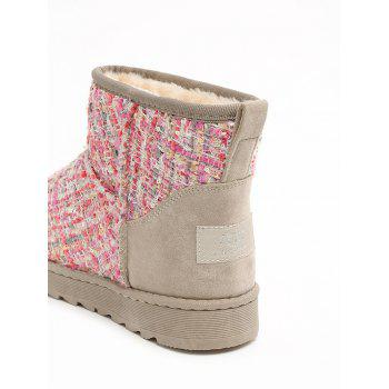 Suede Panel Winter Snow Ankle Boots - PINK 37