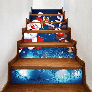 Christmas Santa Deer Pattern Stair Stickers