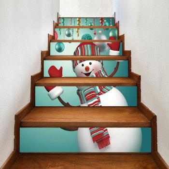 Christmas Snowman Baubles Pattern Stair Stickers