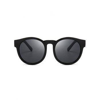 Vintage Cat Eye Mirror Reflective Round Sunglasses - DOUBLE BLACK