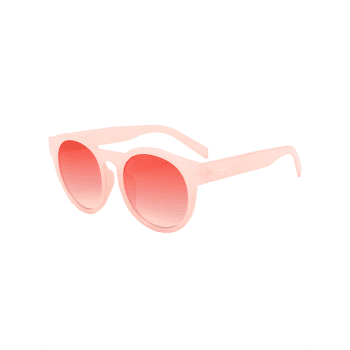 Vintage Cat Eye Mirror Reflective Round Sunglasses -  WATERMELON RED