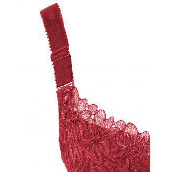 Padded Wirefree Floral Lace Panel Plus Size Bra - RED RED