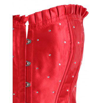 Plus Size Rhinestone Lace Up Corset - RED RED