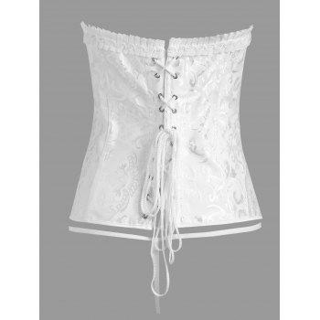 Plus Size Jacquard Ruffle Lace Up Corset - WHITE WHITE