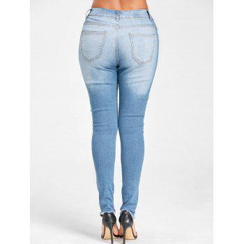 Embroidery Frayed Hem Knee Ripped Jeans - BLUE 2XL