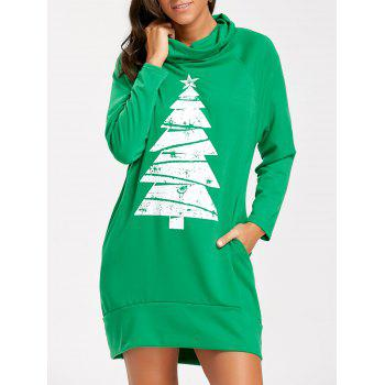 Tree Print Raglan Sleeve Christmas Sweatshirt Dress