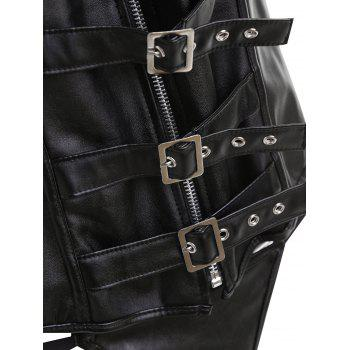 Lace Up Faux Leather Zipper Plus Size Corset - BLACK BLACK