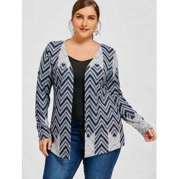 Plus Size Zigzag Print Cardigan - CADETBLUE 4XL