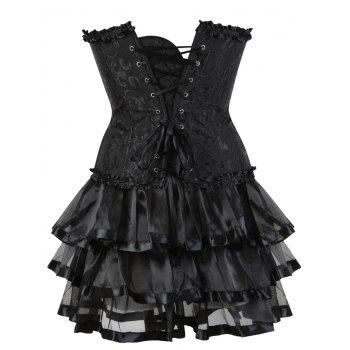 Steel Boned Two Piece Flounce Corset Dress - BLACK 2XL