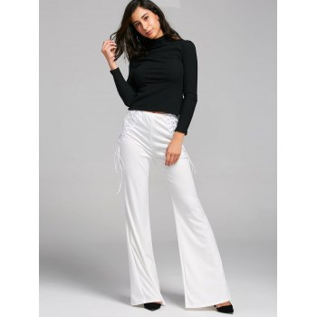 High Waist Criss Cross Lace Up Flare Pants - WHITE WHITE
