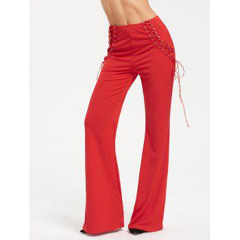High Waist Criss Cross Lace Up Flare Pants - RED S