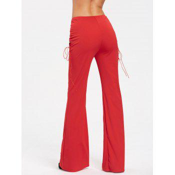 High Waist Criss Cross Lace Up Flare Pants - RED L