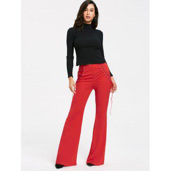 High Waist Criss Cross Lace Up Flare Pants - RED RED