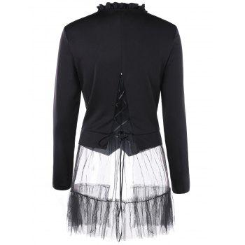Flounced Double Breasted Tulle Panel Coat - BLACK L