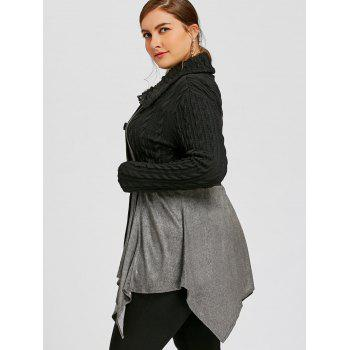 Plus Size Cable Knit Double Breasted Coat - GRAY XL