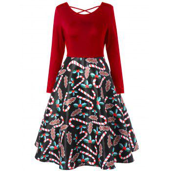 Christmas Criss Cross Graphic Swing Dress