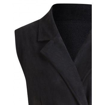 Plus Size  Long High Low Double Breast Trench Coat - BLACK XL