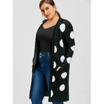 Plus Size Polka Dot Longline Cardigan - BLACK XL