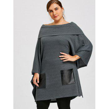 Plus Size Batwing Sleeve Off The Shoulder Top - GRAY 4XL