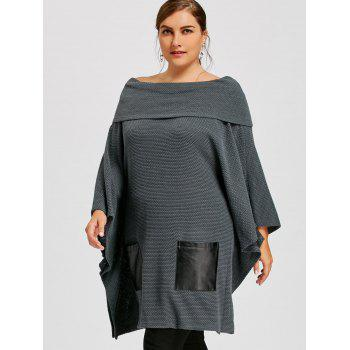 Plus Size Batwing Sleeve Off The Shoulder Top - GRAY 5XL