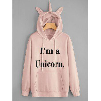 Drawstring Unicorn Letter Graphic Hoodie