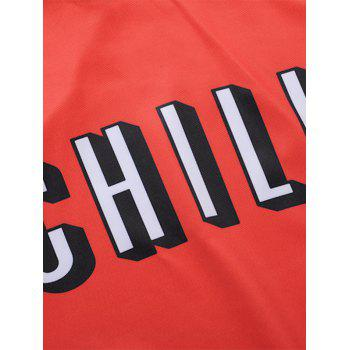 Chill Print Kangaroo Pocket Hoodie - RED 2XL