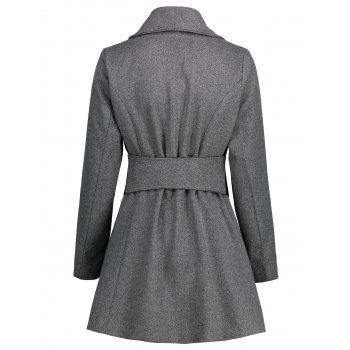 Turn Down Collar Tunic Belted Coat - GRAY 2XL
