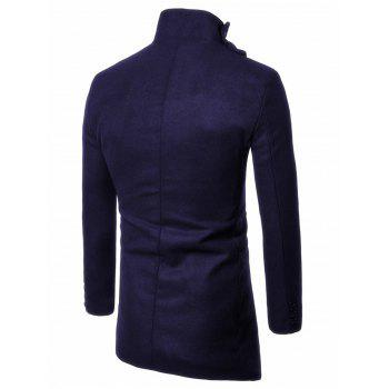 Button Up Asymmetrical Wool Blend Coat - PURPLISH BLUE 3XL