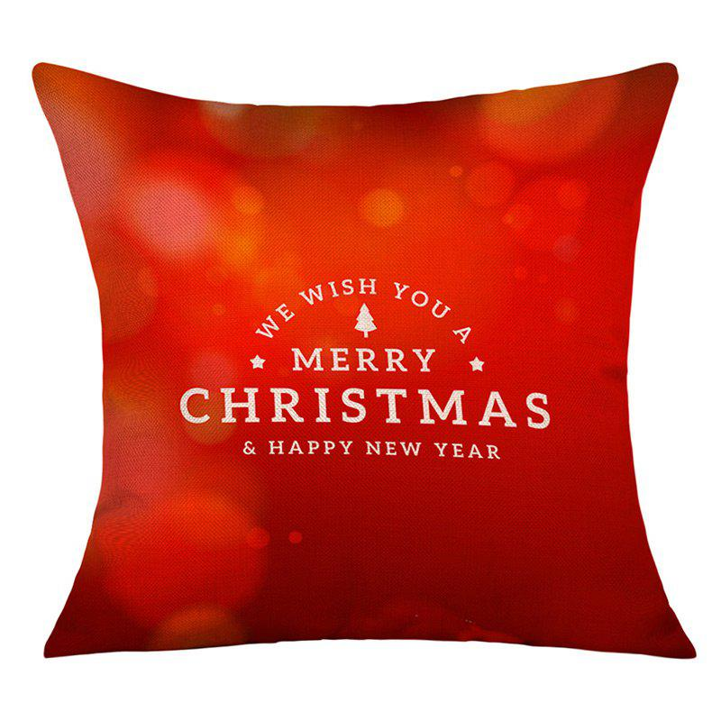 Merry Christmas Greeting Print Linen Sofa Pillowcase snowy christmas gifts print linen sofa pillowcase