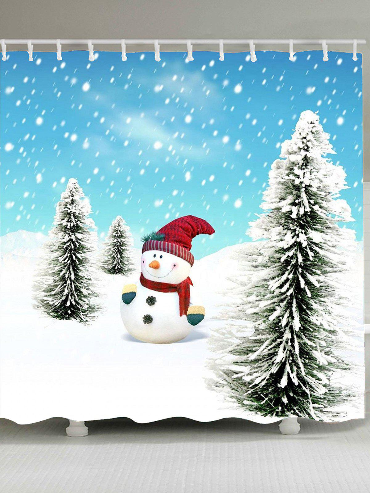 Waterproof Christmas Snowman Pine Pattern Shower Curtain christmas pine baubles print fabric waterproof shower curtain