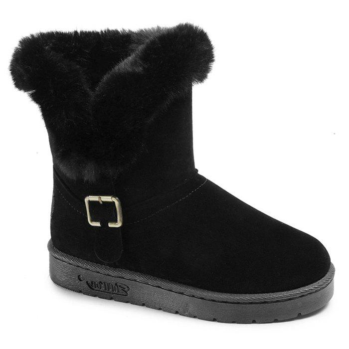 Dresslily Slip On Buckled Faux Fur Suede Snow Boots