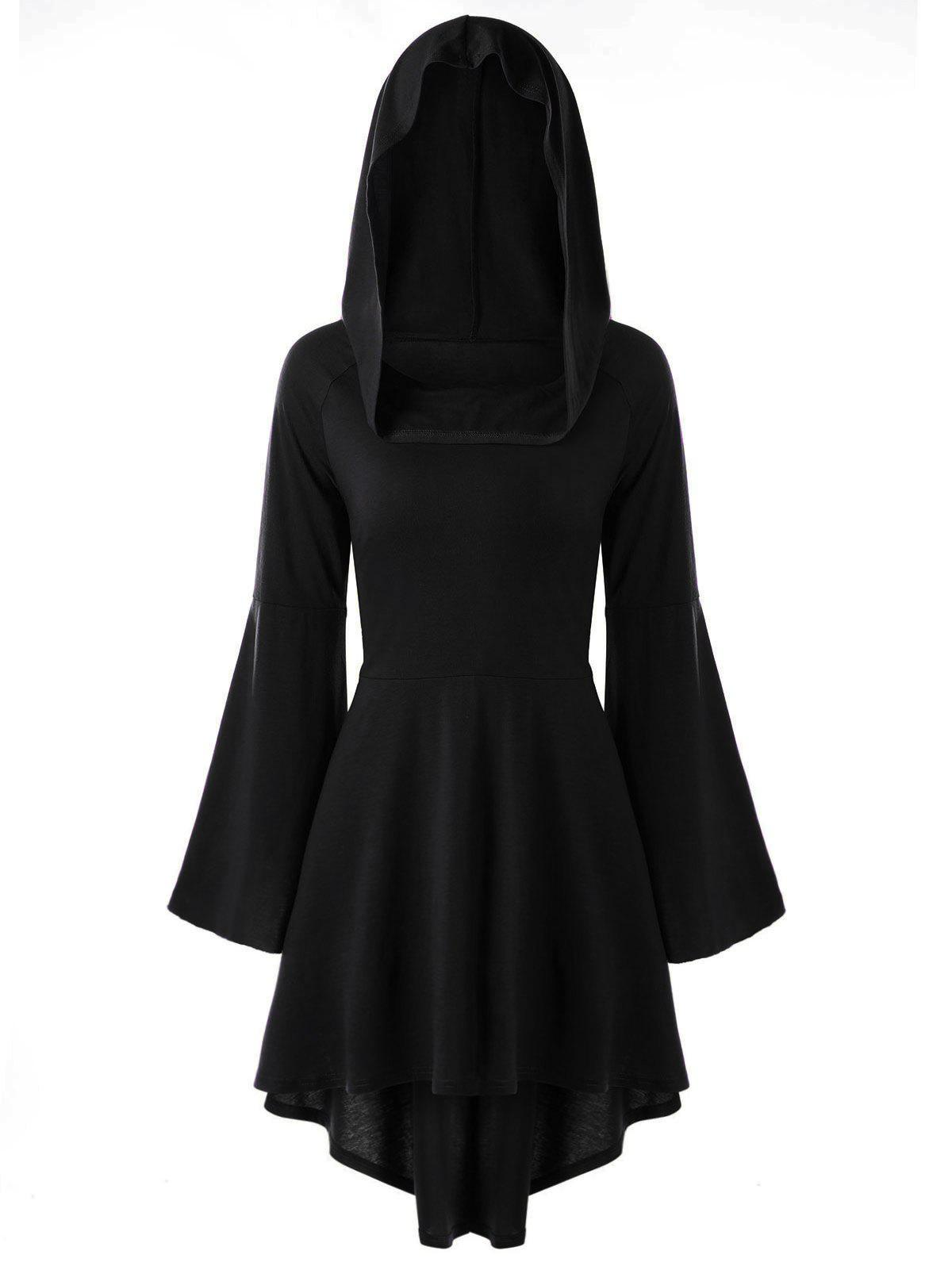 Lace-up Flare Sleeve High Low Hooded Dress - BLACK M